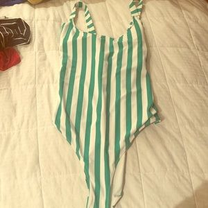 Forever 21 Green & White Striped Bathing Suit